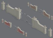 Vector isometrisch Poortportaal Royalty-vrije Stock Afbeeldingen