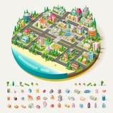 Vector Isometrisch stads commercieel centrum royalty-vrije illustratie