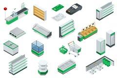 Vector isometrisch supermarkt binnenlands plan stock illustratie