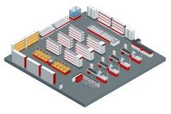 Vector isometrisch supermarkt binnenlands plan Het beeld omvat opslagdwarsdoorsnede, meubilair en materiaal royalty-vrije illustratie