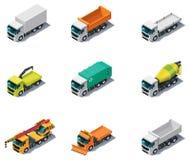 Vector isometrisch vervoer. Vrachtwagens Stock Afbeelding