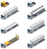 Vector isometrisch vervoer. Vrachtwagens met semi-sleep Stock Afbeelding