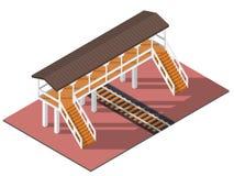 Vector isometrisch viaduct Stock Afbeelding
