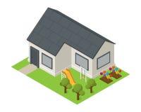 Vector isometrisch woningbouwpictogram Royalty-vrije Stock Afbeeldingen