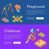 Vector isometrische de bannersillustratie van het speelplaatsweb royalty-vrije illustratie