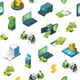 Vector isometrische de pictogrammenachtergrond van de geldbank stock illustratie