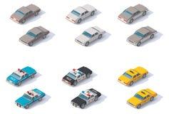 Vector isometrische geplaatste auto's Stock Afbeelding