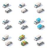 Vector isometrische geplaatste bestelwagens Stock Foto