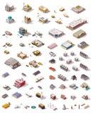 Vector isometrische geplaatste gebouwen royalty-vrije illustratie