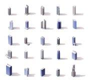 Vector isometrische geplaatste wolkenkrabbers Stock Foto's