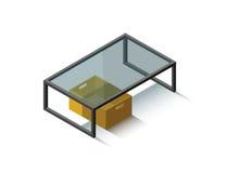 Vector Isometrische glaskoffietafel royalty-vrije stock afbeelding