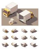 Vector isometrische het pictogramreeks van de doosvrachtwagen Stock Afbeeldingen