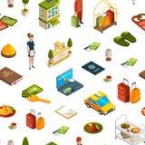 Vector isometrische Hotelikonen Muster oder Hintergrundillustration lizenzfreie abbildung