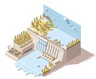 Vector isometrische hydro infographic elektrische centrale stock illustratie