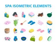Vector isometrische icons spa geplaatste elementen 3d realistische kuuroord en massagesalonobjecten inzameling Kaarsen, skincare Royalty-vrije Stock Fotografie
