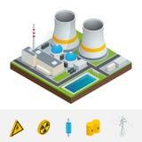 Vector isometrische Ikone, das infographic Element, das Atomkraftwerk darstellen, die Reaktoren, die Stromleitungen und Atomenerg Stockfotos