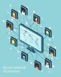 Vector isometrische illustratie op sociaal netwerk Royalty-vrije Stock Fotografie
