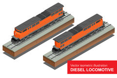 Vector isometrische illustratie van Diesel Locomotivel Van het de Spoorwegvervoer van het trein Voortbewegingsvervoer vector vlak Royalty-vrije Stock Foto's
