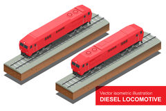 Vector isometrische illustratie van Diesel Locomotivel Van het de Spoorwegvervoer van het trein Voortbewegingsvervoer vector vlak vector illustratie