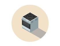 Vector isometrische illustratie van elektrisch kooktoestel, fornuis, keukenmateriaal Stock Foto's
