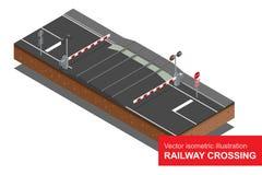 Vector isometrische illustratie van spoorwegovergang Een spoorwegspoorwegovergang, met gesloten barrières en lichten het opvlamme Royalty-vrije Stock Afbeeldingen