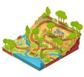 Vector isometrische Illustration 3D des Querschnitts eines Landschaftsparks mit einem Fluss, Brücken, Bänke und Laternen lizenzfreie abbildung