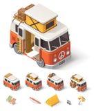 Vector isometrische kampeerautobestelwagen Stock Afbeeldingen