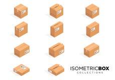 Vector isometrische kartondozen Het dooskarton, doospakket, doos verpakking, doospictogram, doos isoleerde illustratie Stock Foto