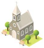 Vector isometrische kerk Stock Afbeeldingen