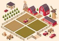 Vector isometrische landbouwbedrijfelementen royalty-vrije illustratie
