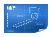 Vector isometrische lijn selfie stok Royalty-vrije Stock Fotografie