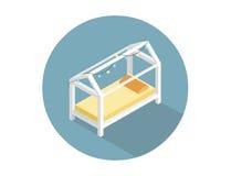Vector isometrische moderne Kinder zu Bett gehen, flache Hauptmöbel 3d Lizenzfreie Stockfotos