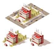 Vector isometrische niedrige Polyfernsehmitte-Gebäudeikone Lizenzfreies Stockbild