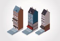 Vector isometrische oude gebouwen. Deel 1 Royalty-vrije Stock Afbeeldingen