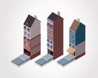 Vector isometrische oude gebouwen. Deel 2 Stock Fotografie