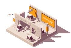 Vector isometrische reclame in parkeerterrein stock illustratie