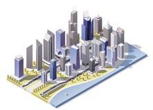 Vector isometrische stad de stad in Stock Fotografie