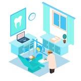 Vector isometrische tandkliniek De illustratie van de kleur Royalty-vrije Stock Foto's