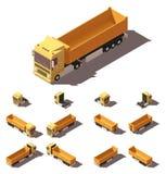 Vector isometrische vrachtwagen met het pictogramreeks van de kippersoplegger Royalty-vrije Stock Afbeeldingen