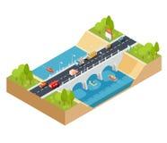 Vector isometrischen Querschnitt 3D einer Landschaft mit einer flüssigen Fluss- und Automobilbrücke durch sie stock abbildung