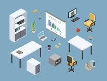 Vector isometrisches gesessen von den Büromöbeln, flache Innengestaltungselemente 3d lizenzfreies stockfoto