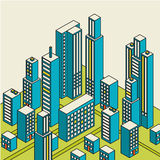Vector isometrisches Stadtzentrum auf der Karte mit vielen Gebäuden Lizenzfreies Stockfoto