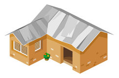 Vector isométrico de la casa pobre Imagen de archivo