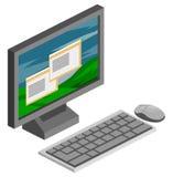 Vector isométrico del ordenador Fotografía de archivo libre de regalías