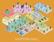 Vector isométrico plano del concepto de la alameda de compras 3d Imágenes de archivo libres de regalías