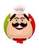 Vector Italian chef with mustache icon Stock Photo
