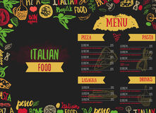 Vector Italian Menu Vector Template, with Various Groceries: Pasta, Vegetables, pizza and Mushrooms and hand drawn Royalty Free Stock Image