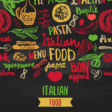 Vector Italian Menu Vector Template, with Various Groceries: Pasta, Vegetables, pizza and Mushrooms and hand drawn Stock Image