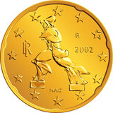 Vector Italian money gold euro coin twenty cents. Obverse Italian money gold euro coin with the image of a person walking Royalty Free Stock Images