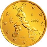 Vector Italian money gold euro coin twenty cents Royalty Free Stock Images